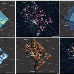 A grid of urban accessibility visualizations