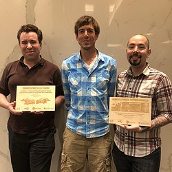 Picture of newly minted Drs. Matt Mauriello and Lee Stearns with their advisor Jon Froehlich