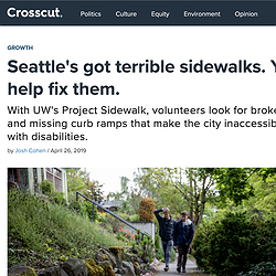 Screenshot of the Crosscut article showing the title along with a header image of two people walking on a sidewalk that's disheveled