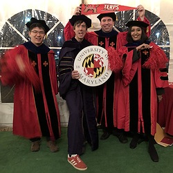 Ruofei Du, Lee Stearns, and Meethu Malu celebrating their newly minted PhDs with Professor Froehlich.