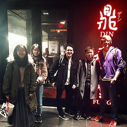 Five lab members standing in front of Din Tai Fung