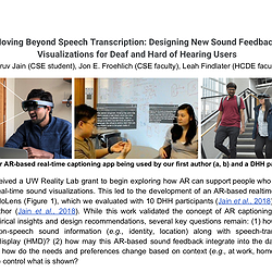 Screenshot of the front page of our proposal showing the title and three figures of rendering sound feedback in an AR display