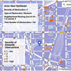 A screenshot showing a top-down map of Barbara Moreno's Project Sidewalk visualization tool