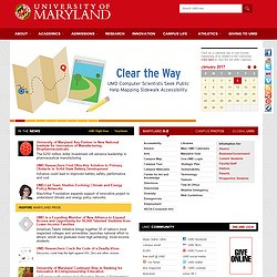 UMD Homepage Featuring Project Sidewalk