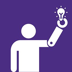 The UW Create Logo showing an icon of a person with a prosthetic holding a lightbulb