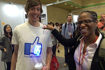 "Tawanna and Jon with ""I Like This Shirt"" at CHI2015"