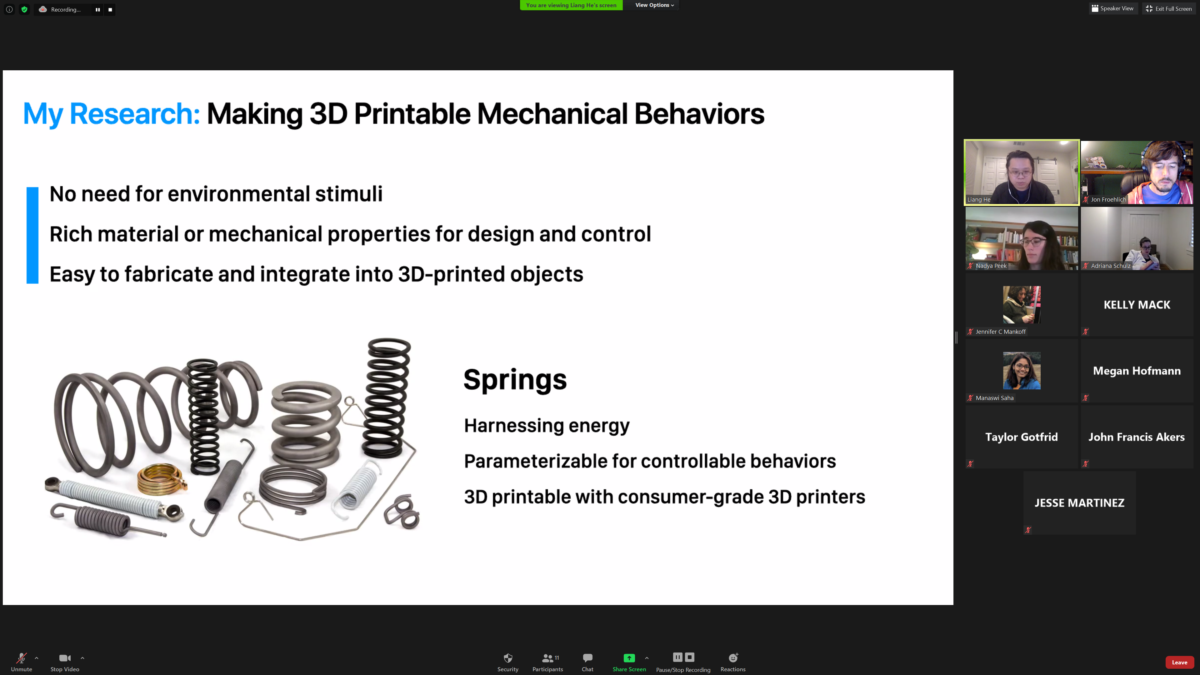 "A screenshot of one of Liang He's general exam slides that says ""My Research: Making 3D Printable Mechanical Behaviors"" and enumerates benefits of his approach"